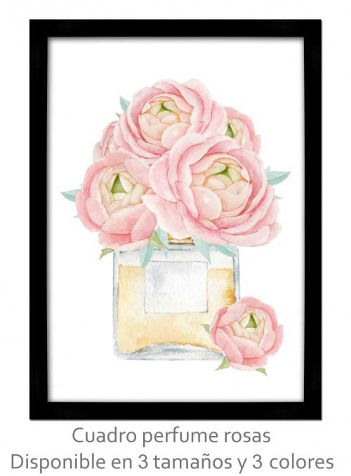 Cuadro perfume rosas vintage